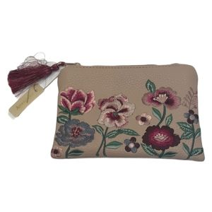 NWT Accessorize Flower Embroidery Pink Pouch